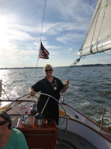 Beth at the helm of the Schooner Woodwind II. Happy Birthday!