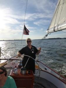 Beth at the helm of the Schooner Woodwind II. Happy Birthday!