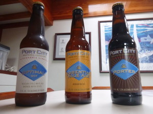 Port City's starting line up for the weekly beer tasting on Woodwind II
