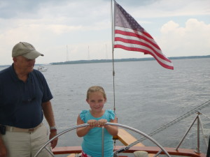 Capt. Ellen at the helm of Woodwind.