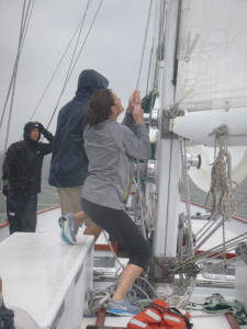 Denise and Sam raising the Stay Sail