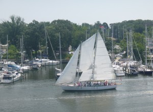 Schooner Woodwind departing Back Creek