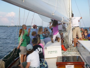 Hoisting the stay sail on Schooner Woodwind