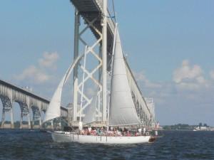 Woodwind II sails under the Bridge as we sail back.