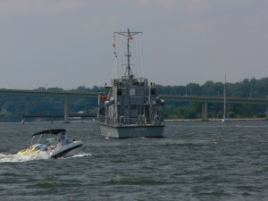 Yard Patrol vessel is heading up the Severn.  This is the training vessel for the Midshipmen.