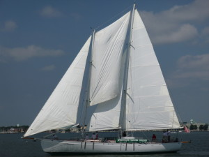 Schooner Woodwind cruising past