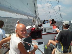 Claudia having fun sailing