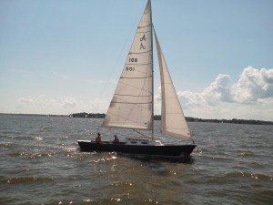 Dave Gendell and Dick Franyo were sailing back after the CRAB Regatta.