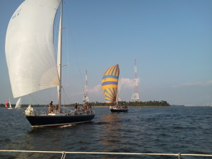 Navy Boats racing around us.