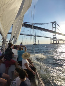 Sailing under the Chesapeake Bay Bridge