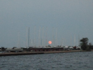 Harvest moon rising over Greenbury Pt.
