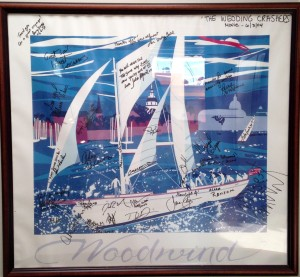 "Nancy Hammond's ""Woodwind"" signed by the ""Wedding Crashers"" cast and crew."