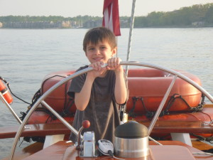 Capt. Ben at the helm of Woodwind II