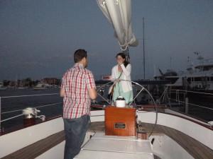 Peter's surprise proposal to Lauren on the Schooner Woodwind