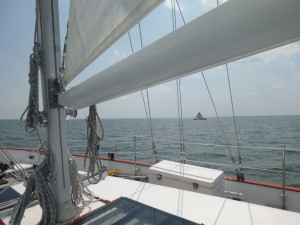 Thomas Point Light as seen from the bow of the Schooner Woodwind