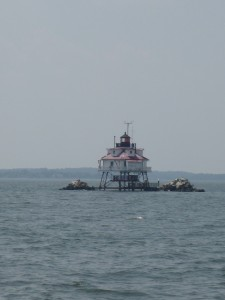 Closer view of The last working screwpile lighthouse in the Chesapeake Bay.