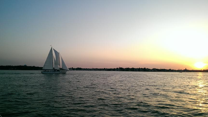 Sailing into the sunset on a Schooner