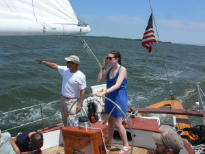 Jeanie from Frederick, receives instruction from Captain Andy.
