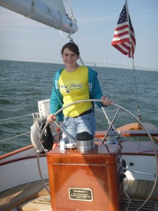Makaela on station at the helm of Woodwind II