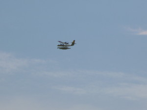Ultralight seaplane buzzing Woodwind II