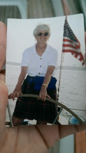 Ruth sailing the Woodwind in 1997.
