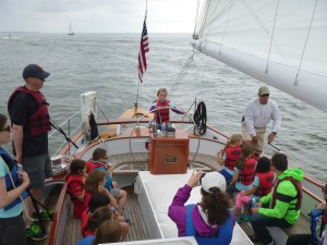 Girl Scout Troop #4651 in charge of the schooner Woodwind