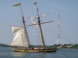 Pride hoisting their mainsail