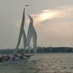 Schooner Woodwind sailing fast up Severn River
