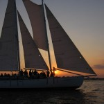 Schooner Woodwind sailing into the sunset