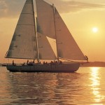 Schooner Woodwind Sailing in Annapolis at Sunset