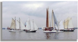 2002 Great Chesapeake Bay Schooner Race Start in the calm winds