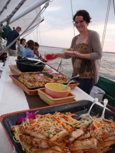 Gourmet catering on the Schooner Woodwind