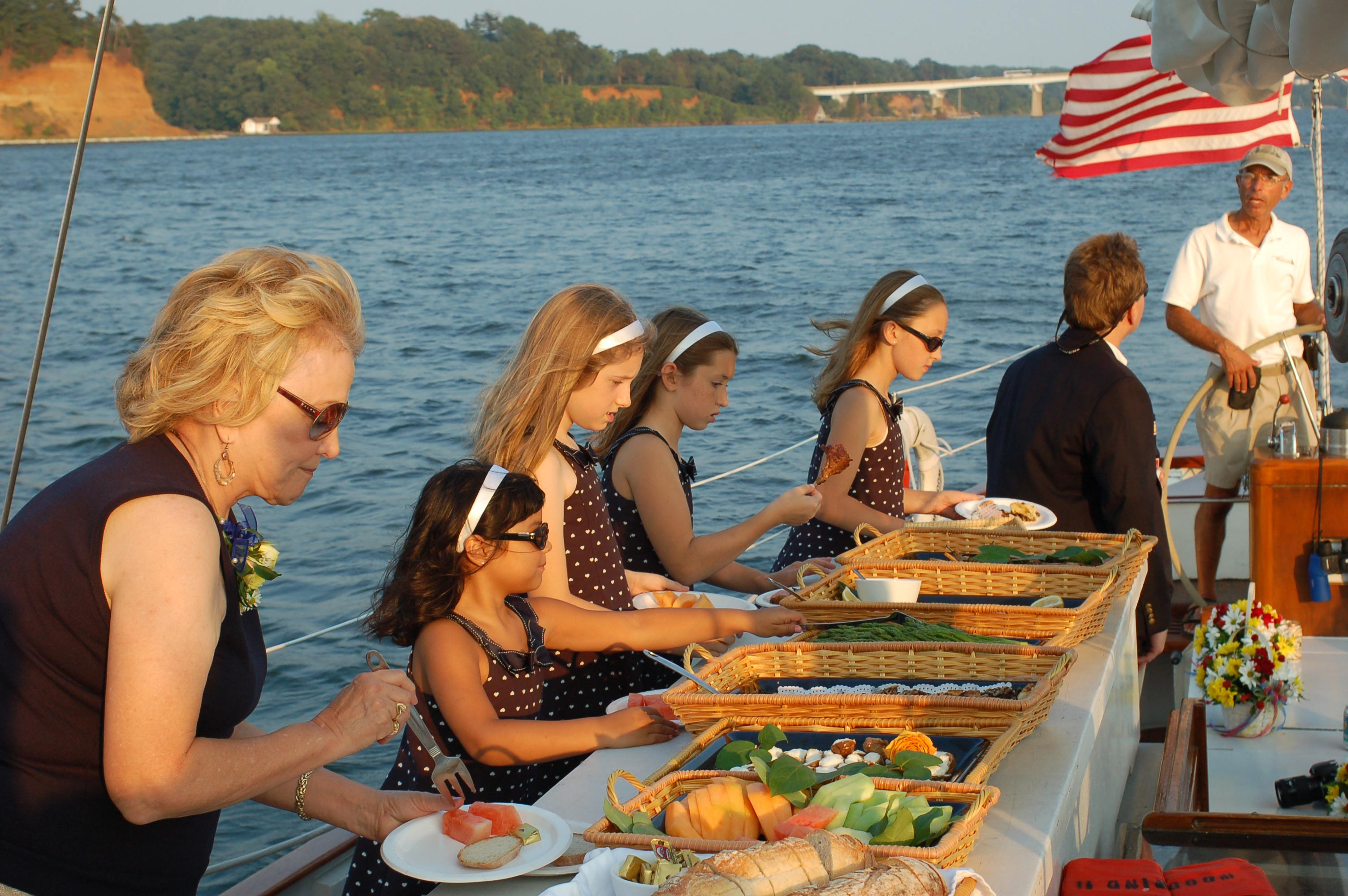 Private Event Catering on Rehersal Dinners on Schooner Woodwind Sailing Cruise