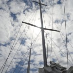 Blue sky with white clouds and our mast