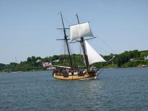 Schooner Sultana Sailing into Annapolis Harbor, taken from Schooner Woodwind