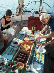 Breakfast time aboard the Schooner Woodwind B&B