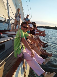 Hiking out on the Woodwind with J-World Sailing Instructors