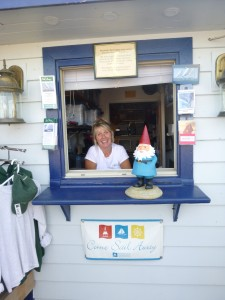 Roaming Gnome at the Schooner Woodwind Dock Office