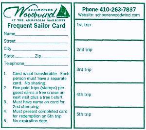 Schooner Woodwind Frequent Sailor Card