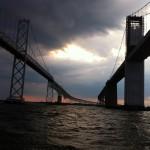 Dark storm over the Bay Bridge spans