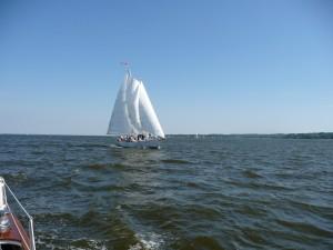 Sailing on the Schooner Woodwind, photo taken from Woodwind II