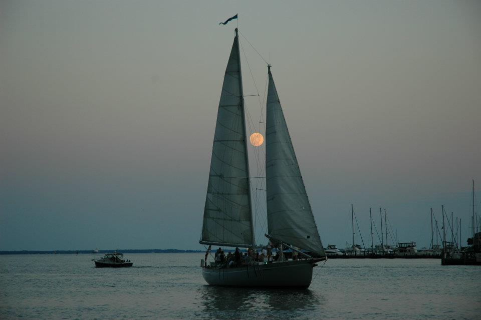 Full moon rising with Schooner Woodwind II in foreground!