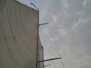Sky above Schooner Woodwind II, looks like we sailed into a cotton ball bag!