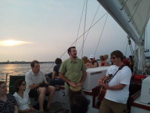 The Roadside Show Band playing on the Schooner Woodwind II