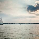 Schooner, water and clouds