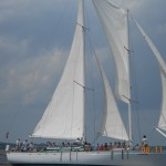 Schooner Woodwind sailing fast in Annapolis