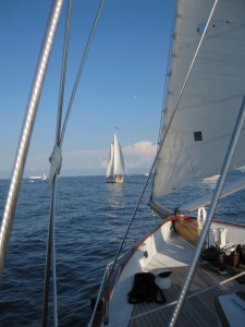 Sailing out of Annapolis Harbor following Schooner Woodwind