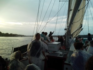 Sailing up the Severn River on the sunset sail as its raining