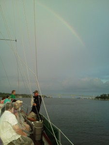 Sailing from Weems creek to Annapolis, we see a gorgeous rainbow!