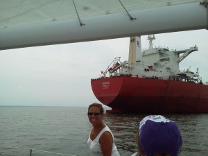 """""""Genius"""" freighter waiting in the ship anchorage off of Annapolis."""